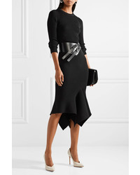Michael Kors Michl Kors Collection Ribbed Knit Wool Blend Midi Skirt Black