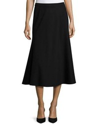 Lafayette 148 New York Tulip Knit Midi Skirt Black Plus Size