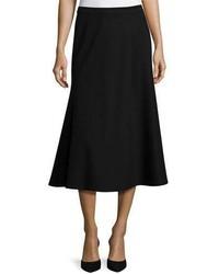 Lafayette 148 New York Tulip Knit Midi Skirt Black Plus Size