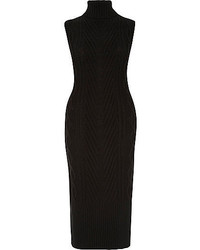River Island Black Cable Knit Tabard Dress