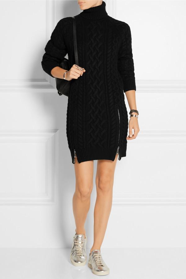 d45ff794f0 ... Alexander Wang Cable Knit Wool Sweater Dress