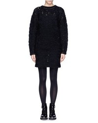 Nobrand Carded Yarn Floral Knit Wool Alpaca Sweater Dress