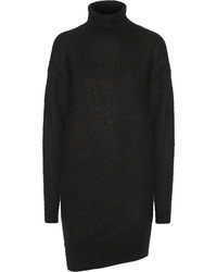 Acne Studios Daija Knitted Turtleneck Sweater Dress Black