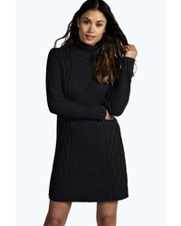 Boohoo Diana Roll Neck Cable Knit Jumper Dress