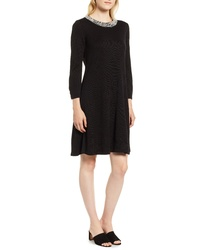 KARL LAGERFELD PARIS Pearly Neck Sweater Dress