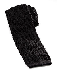 Knit silk tie black medium 135586