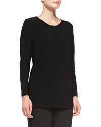 Caroline Rose Long Stretch Knit Tunic Black