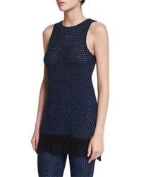 Sleeveless open knit fringe tunic blackcobalt medium 4400659