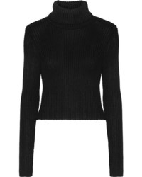 Alice olivia sierra ribbed stretch knit turtleneck sweater black medium 1196545