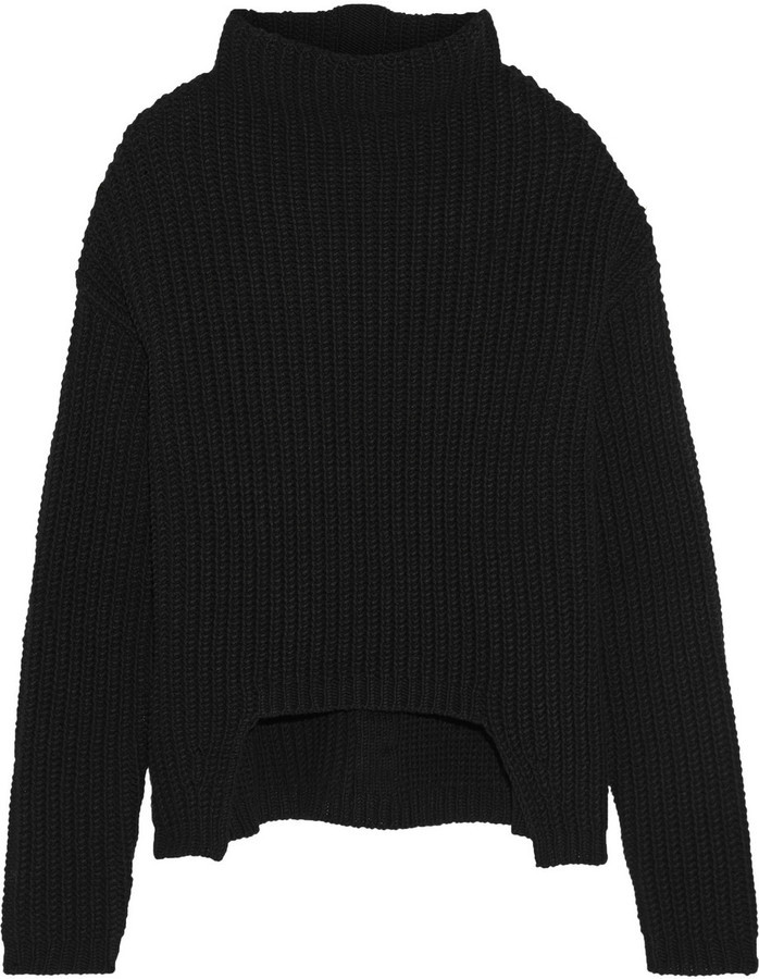 Rick Owens Asymmetric Chunky Knit Wool Turtleneck Sweater | Where ...