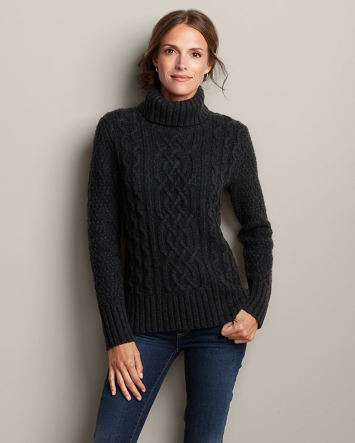 Eddie Bauer Cable Turtleneck Sweater | Where to buy & how to wear