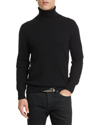 Tom Ford Classic Flat Knit Cashmere Turtleneck Sweater Black