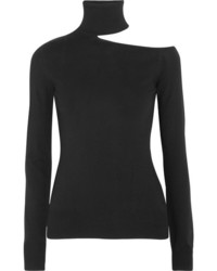 Cutout knitted turtleneck sweater black medium 5219680