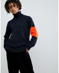 Calvin Klein Jeans Knitted Roll Neck Jumper With Contrast Sleeve Black