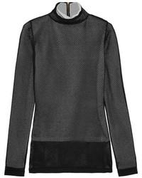 Loewe Layered Mesh And Metallic Knitted Turtleneck Top Black