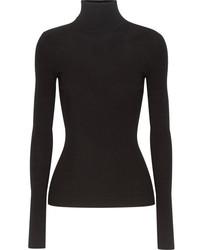 Michael Kors Michl Kors Collection Ribbed Knit Turtleneck Sweater Black