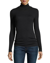 Modal rib knit long sleeve turtleneck top medium 4983682