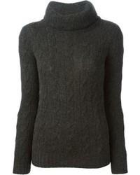 Ralph Lauren Black Cable Knit Turtle Neck Sweater