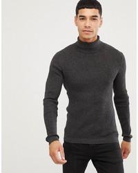 Esprit Rib Knit Muscle Fit Roll Neck Jumper In Black