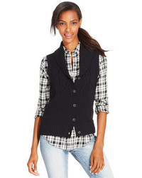 American Living Shawl Collar Cable Knit Vest