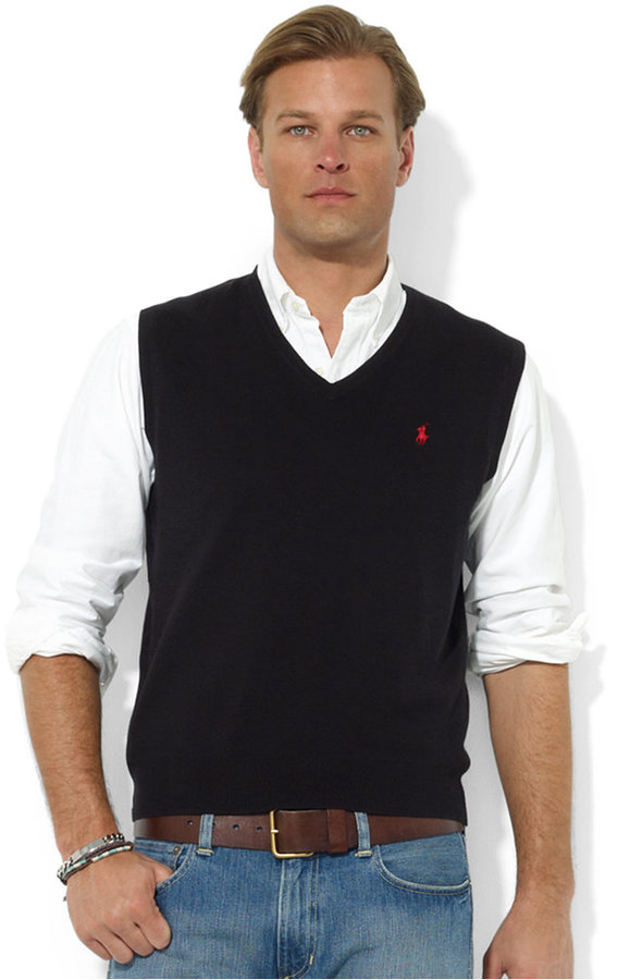 Men's Fashion › Coats › Waistcoats › Black Knit Waistcoats Polo Ralph  Lauren Sweater Vest Core Solid Sweater Vest ...