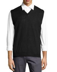 Neiman Marcus Wool Blend Sweater Vest Black