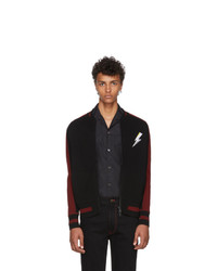 Givenchy Black And Red Knit Teddy Bomber Jacket