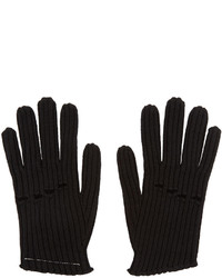 MM6 MAISON MARGIELA Black Wool Rib Knit Gloves