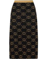 Gucci Metallic Intarsia Wool Blend Midi Skirt