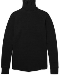 Black Knit Wool Turtleneck