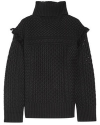 4067bf8c3251af ... Rachel Zoe Aribella Fringed Cable Knit Wool And Cashmere Blend Turtleneck  Sweater