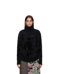 Junya Watanabe Black Wool Jacquard Turtleneck