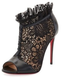 Christian Louboutin Henrietta Lace Peep Toe Red Sole Bootie Black