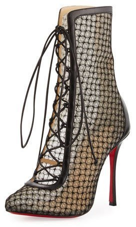 official photos 89374 51ca5 $1,395, Christian Louboutin Lace 100mm Lace Up Red Sole Bootie Black