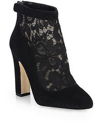 Dolce & Gabbana Lace Suede Ankle Boots