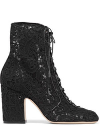 Milly leather trimmed lace ankle boots black medium 1196396