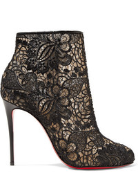 Christian Louboutin Miss Tennis 100 Guipure Lace Ankle Boots Black
