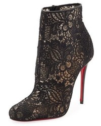 Miss tennis net lace red sole bootie black medium 3697415