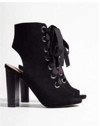 Express Thick Lace Peep Toe Booties