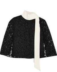 Valentino Cape Effect Crepe Trimmed Corded Lace Top Black
