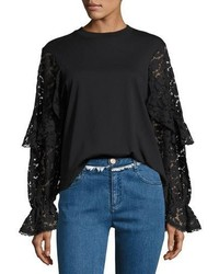 See by Chloe Lace Long Sleeve Cotton Top Black