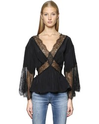 Diesel Viscose Crepe Top W Lace Inserts