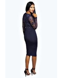 d5d47c0625ded Boohoo Anna Lace Long Sleeve Bodycon Midi Dress, $35 | BooHoo ...