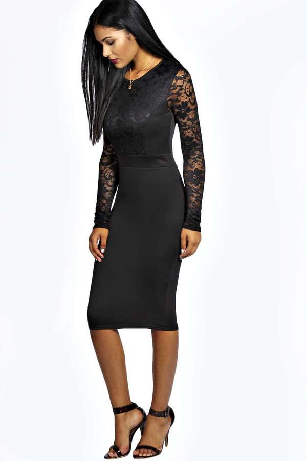 d02fddc6772f ... Black Lace Bodycon Dresses Boohoo Anna Lace Long Sleeve Bodycon Midi  Dress ...