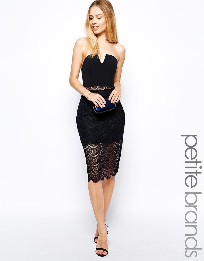 Arabella Jarlo Petite Arabella Midi Strapless Dress In Lace Where