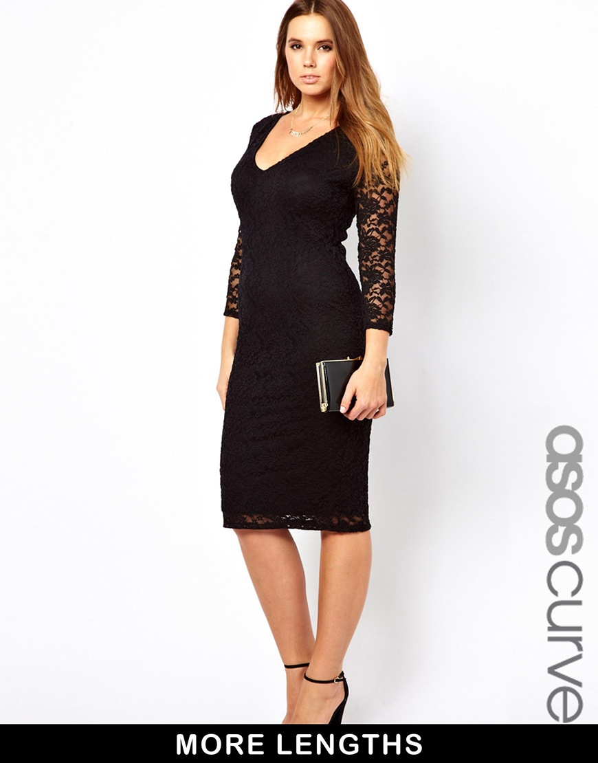 adfbe36660 ... Black Lace Bodycon Dresses Asos Curve Body Conscious Midi Dress In Lace