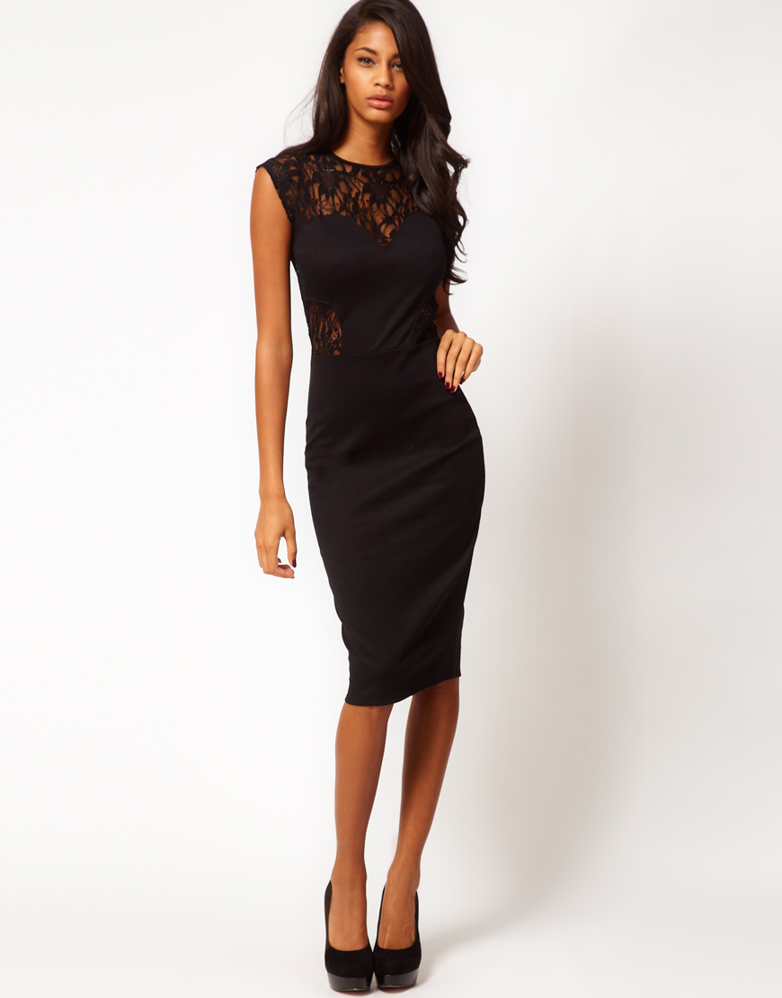 fcb8d4d35e Asos Midi Body Conscious Dress With Lace And Sequin Top 33. Little Mistress Black  Lace Panel Bodycon ...