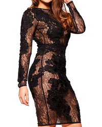 Long Sleeve Lace Embroidered Bodycon Black Dress