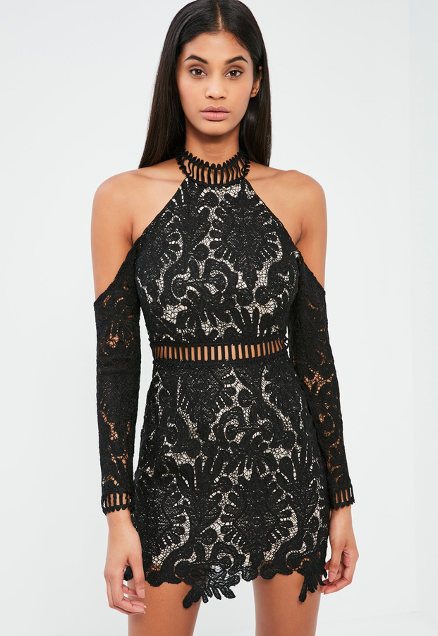 14f87d27cf Missguided Black Lace Cold Shoulder Bodycon Dress, $72 | Missguided ...