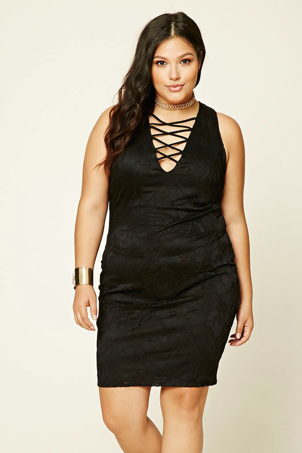 $18, Forever 21 Plus Size Lace Up Bodycon Dress